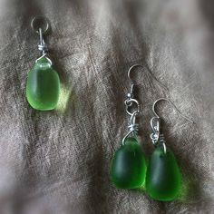Кулон и серьги из зеленого стекла (бывшая винтажная подвеска от люстры)