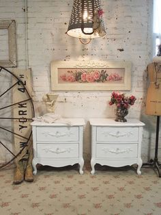 Painted Cottage Chic  Pair of Shabby White by paintedcottages, $450.00