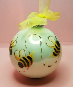 Large Bumble Bees Ornament Hand Painted By BrushStrokeBoutique