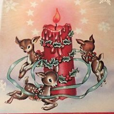 Vtg Xmas Greeting Card 3 Deer Fawn Reindeer Prancing Around Candle Holly Stars