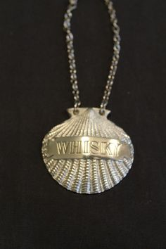 Whisky Silver Plate Decanter Label Bottle Tag Liquor Sea Shell London England #6