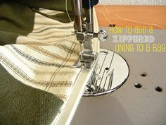 Great tutorial on putting on zippers to your bag.