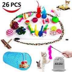 AILUKI Cat Toys Kitten Toys Assortments Variety Catnip Toy Set Including 2 Way TunnelCat Feather TeaserCatnip FishMiceColorful Balls and Bells for CatPuppyKitty Home Design, Cat Site, Cat Allergies, Kitten Toys, Mama Cat, Cat Tunnel, Catnip Toys, Dry Cat Food, Wild Bird Food