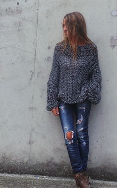 gray chunky sweater / chunky sweater by ileaiye on Etsy, $140.00