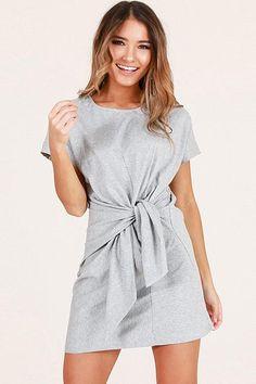 Women Wrap Tied Round Neck Short Sleeve Casual Dress - Light Gray, S Casual Dresses, Short Sleeve Dresses, Club Party Dresses, Mini Dresses, Girls Dresses, Summer Dresses, Beach T Shirts, Vestido Casual, Latest Dress