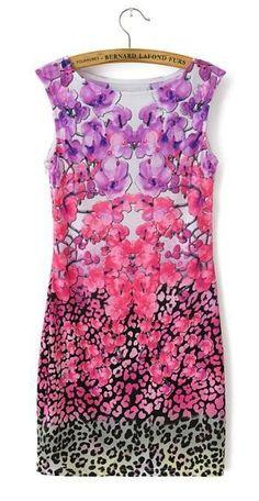 Elegant floral leopard print Dress