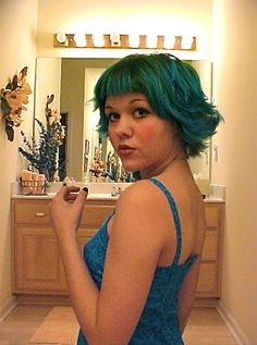 I love the green and teal hair! So cute!    teal hair by San Smith, via Flickr