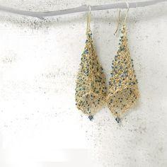 images of wire crochet jewelry | Wire Crochet Earring, Blue Gold Jewelry, 14K Goldfill Earrings, Wire ...