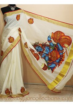Dress Painting, Fabric Painting, Fabric Art, Saree Painting Designs, Fabric Paint Designs, Kerala Mural Painting, Madhubani Painting, Set Saree, Saree Dress