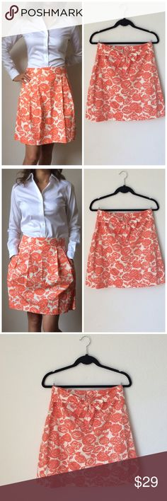 "J CREW Orange Ivory Skirt Sz 4 J CREW Orange Ivory Skirt Sz 4.100% cotton. Liken new, never worn. Waist: 14.5"",length:19.5"". .lined,2 front pockets, it has waist straps to make a cute bow at the front or back (wherever you want to make it). Adorable and uktra femenine.  J. Crew Skirts Mini"