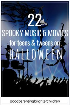 Check out these 22 scary Halloween music and movies to play in the dark on Halloween night. best classic movies for kids & teens. Includes music from horror movies. Halloween Music For Kids, Fun Halloween Crafts, Halloween Party Themes, Halloween Books, Halloween Activities, Halloween Night, Halloween Pumpkins, Kid Movies, Horror Movies
