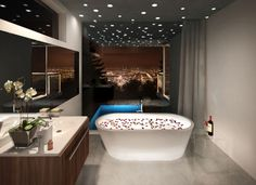 take a rose petal bath while gazing out at the city