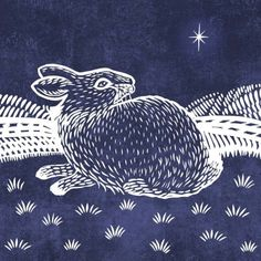 Valerie Greeley - Christmas Rabbit Lino Blue Low Res