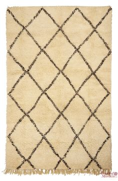Beni Ourain Rug Vintage. Moroccan Pure Wool . Hand-knotted Handmade in Morocco Genuine and Authentic. 265 cm x 170 cm (BOJ4)