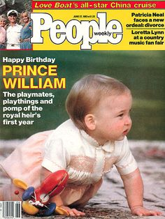 "Prince William on the JUNE 1983 cover of PEOPLE. For his first birthday, the Royal Family gushes over William's six new teeth and his first teetering steps. ""He falls over a lot,"" Diana's father Earl Spencer says of his grandson. Diana Spencer, Diana Ross, Happy Birthday Prince, Patricia Neal, Prince William And Catherine, Duke William, William Arthur, Love Boat, Loretta Lynn"