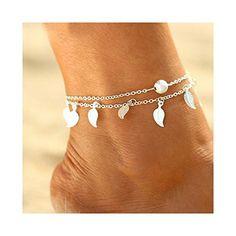 Jovono Blue Boho Cheville Perl/ée Multicouche Tortue Bracelets Cheville Bracelets De Plage Pieds pour Femmes Et Filles Argent