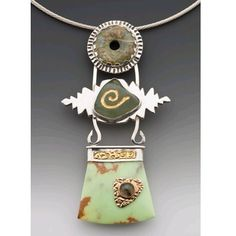 Caryn L. Hetherston Sterling & fine silver, 22 & 14 Kt gold, Kunzite, beach glass carved and inlayed with 22 KT gold leaf, lemon dolomite& spectralite.