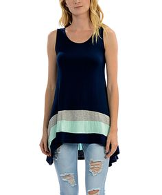 Another great find on #zulily! Navy & Mint Stripe Hi-Low Tunic by Celeste #zulilyfinds