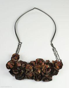 Liina Lõõbas - necklace  2011, pressed copperdust, oxidised sterling silver  140 x 215 x 20 mm - Estonia, Tallinn, Eesti Kunstakadeemia