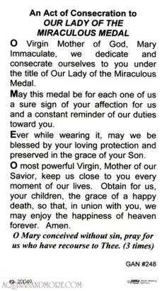 Consecration to Mary of the Miraculous Medal Roman Catholic Prayers, Catholic Doctrine, Catholic Religion, Catholic Quotes, Religious Quotes, Catholic Saints, Novena Prayers, Bible Prayers, Divine Mercy Prayer