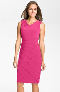 Adrianna Papell V-Neck Shutter Pleat Sheath Dress | Nordstrom $158 (Jenny should really be in the hot pink)