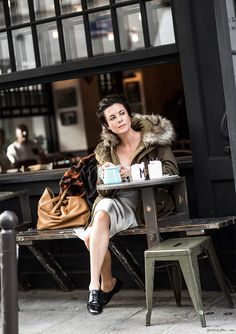 garance dore- zara. I have this jacket and never thought to pair it w something so ladylike!