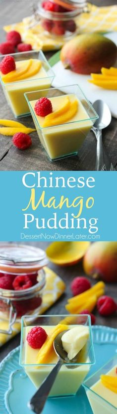 Chinese Mango Pudding is creamy, smooth, and full of sweet mango flavor. Plus it's simple to make. A great dessert for Chinese New Year! #WokWednesday #sponsored