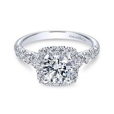 Beckett 14k White Gold Round Halo Engagement Ring angle 1