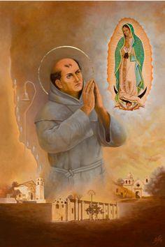 """1 juli: St. Junipero Sera (1713-1784), missionaris, Apostel van Californië. Franciscaan afkomstig uit Majorca, hoogleraar in filosofie, priester. Missionaris in Mexico en later in Californië. Stichter van 22 missieposten langs Camino Real. Droeg missie op aan Maagd van Guadalupe.Gaf ook onderricht in landbouw en veeteelt. Dankzij hem wijngaarden bij San Diego, wegens behoefte aan miswijn. """"Vader van de Californische wijn""""."""