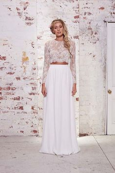 14 Wedding Dresses That Were Made For The Beach #refinery29  http://www.refinery29.com/best-beach-wedding-dresses#slide-12  Can you forgive us for adding another lace crop top to the list? We promise this one is different from the last! The Tillie's sheer long sleeves up the elegance factor just a nit, but its relaxed, bohemian feel is just right for a seaside fete.