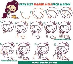 How to Draw Cute Chibi / Kawaii Jasmine & Raj the Tiger from Aladdin with Easy Step by Step Drawing Tutorial for Kids Easy Disney Drawings, Kawaii Drawings, Doodle Drawings, Easy Drawings, Drawing Disney, Hipster Drawings, Drawing Tutorials For Kids, Drawing For Beginners, Drawing For Kids