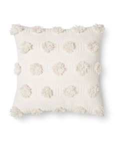 Cream Pom Throw Pillow