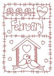 Redwork 12 Months of the Year Set, 12 Designs - 3 Sizes! | Tags | Machine Embroidery Designs | SWAKembroidery.com