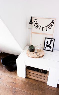 Letterbanner inspiratie #lentezon #boomstamschijf #boomschijf #wonen #interieur #room26.nl www.room26.nl