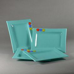 turquoise, mid century modern fused glass plate set, appetizer plate, dessert plate, entertaining dish set
