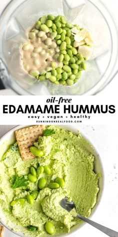 Edamame Hummus Sweet, salty and delicious. This yummy homemade The Best Salted C… Edamame Hummus Sweet, salty and delicious. This yummy homemade The Best Salted [. Raw Food Recipes, Vegetarian Recipes, Healthy Recipes, High Protein Vegan Recipes, Recipes With Hummus, High Protein Meals, High Protein Desserts, Vegan Protein, Protein Foods