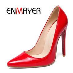 Find More Women's Pumps Information about ENMAYER Plus Size 34 46 Slip On Party  Weeding Gold Red Pointed Toe Super High Heels Pumps Shoes Women Thin Heels Woman's Shoes,High Quality heels pumps shoes,China high heels pumps shoes Suppliers, Cheap pumps shoes woman from E&R Chengdu Ying Meier Shoes CO., LIMITED on Aliexpress.com