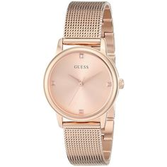 Guess 'Classic' Women's U0532L3 Rose Gold Tone Stainless Steel Watch ($106) ❤ liked on Polyvore featuring jewelry, watches, accessories, bracelets, montre, dial watches, stainless steel watches, stainless steel wrist watch, guess jewelry and guess jewellery