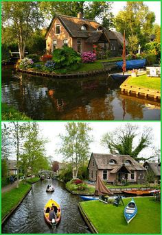 Village in the Netherlands this village is called Giethorn - no roads, just water and boats to get you around.