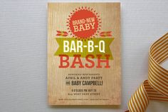 Backyard Barbeque Baby Shower Invitations by Susie. Rustic Invitations, Baby Shower Invitations, Invites, Backyard Barbeque, Barbecue, Baby Bar, Couples Baby Showers, Baby Mine, Rustic Baby