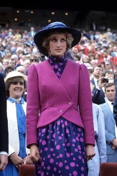 lovelydianaprincessofwales:  The Princess of Wales wearing a navy dress with pink spots and matching pink jacket. © PA