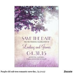 Purple old oak tree romantic save the date cards Purple old oak tree save the date. The trees can't live without birds like birds without the tree. This magical whimsical vintage save the date card tells a story about two love birds living in a purple tree. Make an unforgettable impression and surprise your family and friends with this outstanding design rustic save the date card. Please contact me if you need help with customization or have a custom color request.