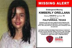 KIMBERLY ORELLANA, Age Now: 16, Missing: 08/09/2012. Missing From FALFURRIAS, TX. ANYONE HAVING INFORMATION SHOULD CONTACT: Brooks County Sheriff's Office (Texas) 1-361-325-3696.