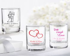 Favors: Shot Glass/Votive Candle Holder (for old people)....just saying, I would totally use it.