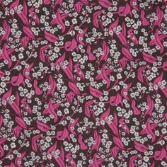Fuchsia/Brown Floral Printed Cotton Voile