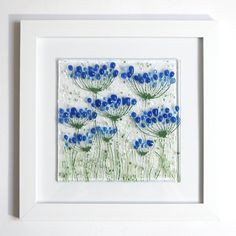 Blue agapanthus framed glass art – Fired Creations Dichroic Glass Jewelry, Fused Glass Art, Glass Wall Art, Stained Glass, Glass Flowers, Ceramic Flowers, Panel Wall Art, Framed Wall Art, Glass Fusing Projects