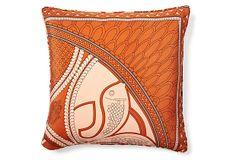 One Kings Lane - An Eclectic Mix - Idiris 20x20 Silk Pillow, Rust
