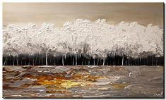 Modern landscape paintings on canvas. White Forest is a hand-painted artwork, created by the artist Osnat Tzadok. An online art gallery of modern paintings - artwork id Top Paintings, Seascape Paintings, Original Paintings, Canvas Painting Landscape, Star Art, Modern Landscaping, Modern Art, Fine Art, Abstract