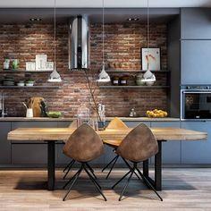 Minimalist and Modern Kitchen Decor You Will Love It - Home Decor Interior Loft Kitchen, Apartment Kitchen, Home Decor Kitchen, Apartment Design, Kitchen Living, Home Kitchens, Kitchen Brick, Apartment Hacks, Best Kitchen Designs