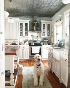 New Farmhouse Kitchen Knobs Floors Ideas Tin Ceiling Kitchen, Kitchen Knobs, Kitchen Backsplash, Floors Kitchen, Tin Ceiling Tiles, Kitchen Countertops, Country Kitchen, New Kitchen, Cozy Kitchen